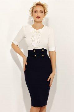Fehér Fofy elegáns női ing 3/4-es ujjakkal szűk szabás enyhén elasztikus pamut gyöngy díszítéssel