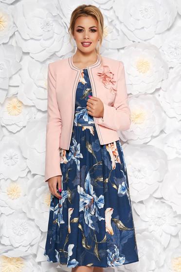 Sötétkék LaDonna két részes elegáns női kosztüm virágmintás
