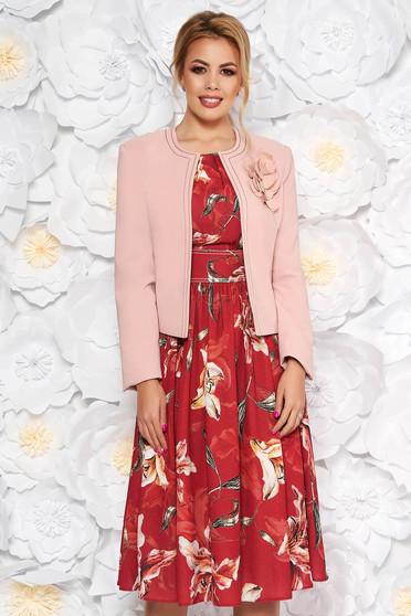 Burgundy LaDonna két részes elegáns női kosztüm virágmintás ruhával