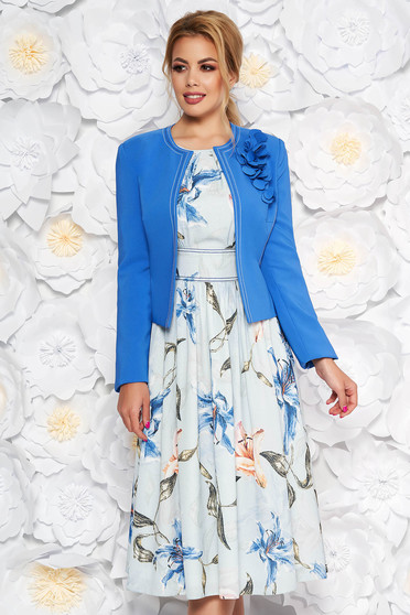 Kék LaDonna két részes elegáns női kosztüm virágmintás