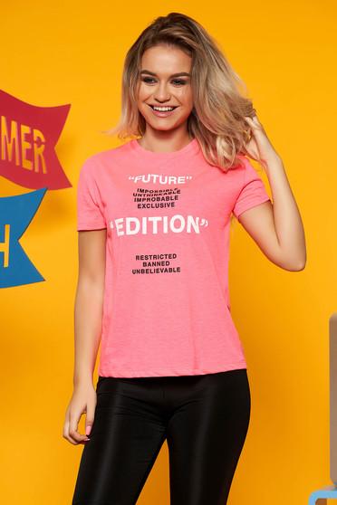 Pink Top Secret casual bő szabású póló nem elasztikus pamutból rövid ujjakkal