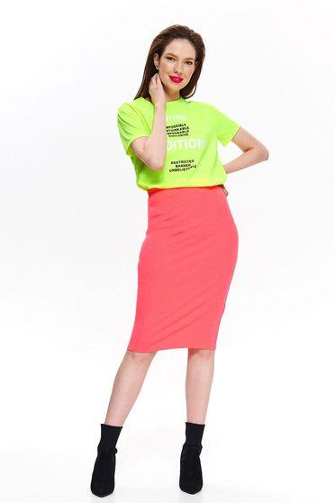 Pink Top Secret casual midi szoknya magas derekú szűk szabás