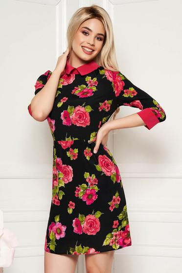 Fekete PrettyGirl hétköznapi a-vonalú ruha 3/4-es ujjakkal lenge anyagból belső béléssel