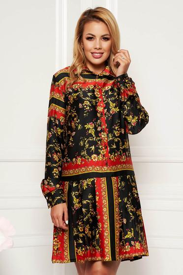 Fekete PrettyGirl hétköznapi egyenes ruha hosszú ujjak szatén anyagból belső béléssel