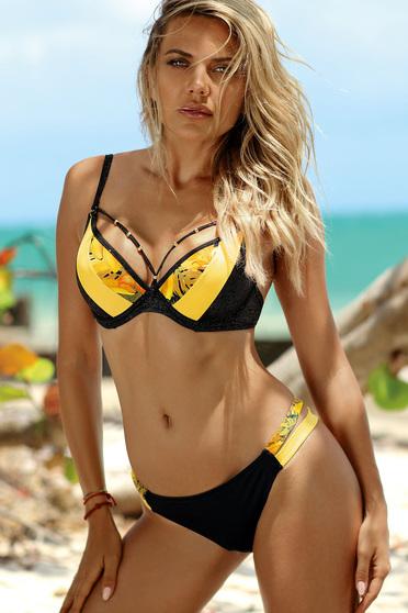 Sárga fürdőruha klasszikus melltartó szivacsos mellrész állítható pántokkal brazil bikinivel