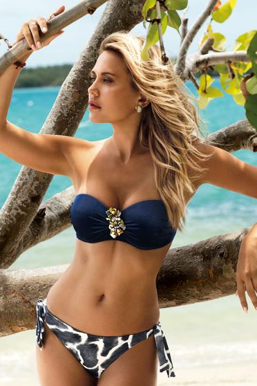 Sötétkék fürdőruha állítható bikinivel bársonyos anyag bross kiegészítővel