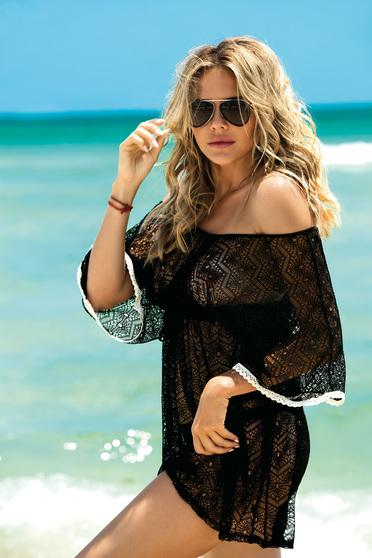 Fekete strandi ruha v-dekoltázzsal háló típus zsinórral van ellátva