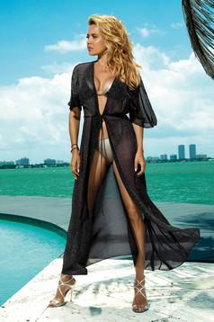 Fekete hosszú strandi ruha áttetsző anyag zsinórral van ellátva