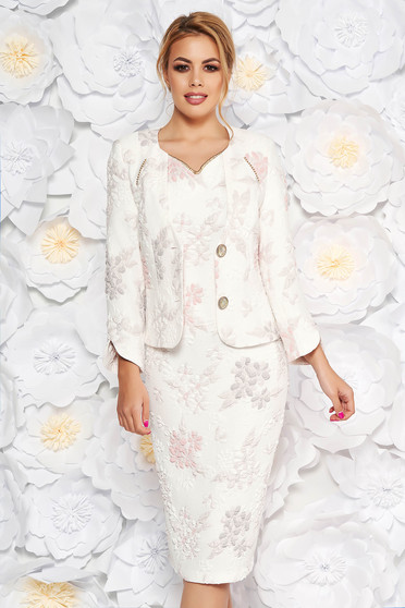 Világos rózsaszín két részes elegáns női kosztüm lamé szál