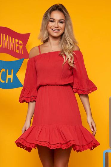Piros hétköznapi bő ruha harang ujjakkal derékban rugalmas szellős, lenge, anyagból