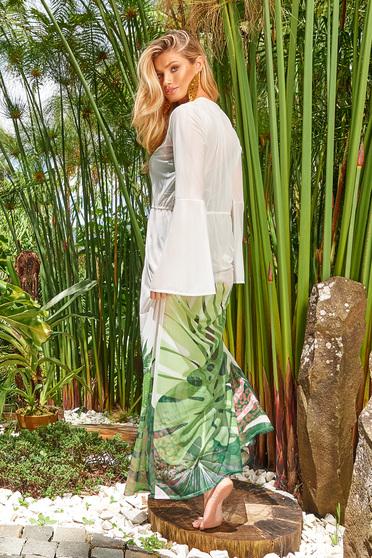 Zöld Cosita Linda strandi bő szabású ruha hosszú ujjakkal enyhén áttetsző anyag virágmintás díszítéssel derékban zsinórral köthető meg