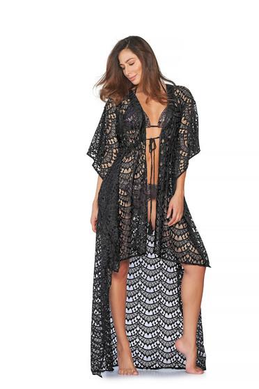 Fekete Cosita Linda strandi bő szabású ruha asszimmetrikus szabással horgolt anyag