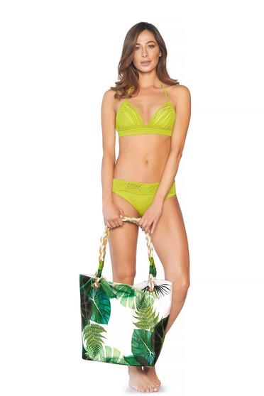 Zöld Cosita Linda strandi táska virágmintás díszítéssel két, közepes hosszúságú füllel