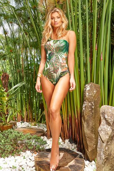 Zöld Cosita Linda egyrészes fürdőruha asszimmetrikus szabással virágmintás díszítéssel