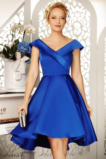 Kék Fofy alkalmi aszimetrikus harang ruha váll nélküli szatén anyagból
