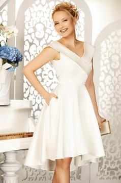 Fehér Fofy alkalmi aszimetrikus harang ruha váll nélküli szatén anyagból