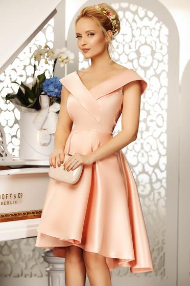 Rózsaszínű Fofy alkalmi aszimetrikus harang ruha váll nélküli szatén anyagból