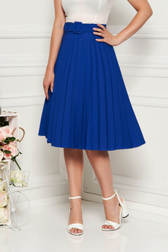 Kék Fofy elegáns rakott harang szoknya magas derekú öv típusú kiegészítővel enyhén rugalmas szövet