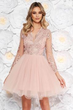 Rózsaszínű Artista alkalmi harang ruha szivacsos mellrész csipkés anyag flitteres díszítés