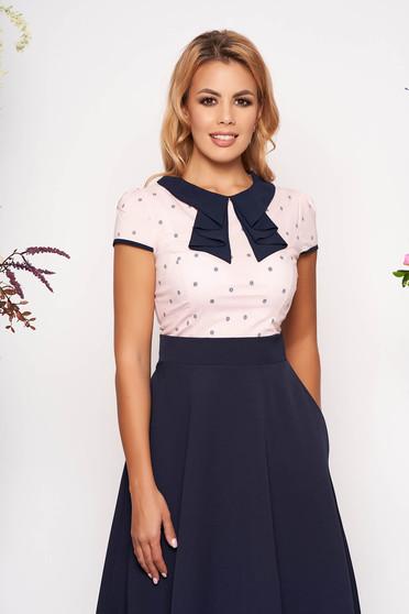 Rózsaszínű Fofy elegáns szűk szabású női ing rövid ujjakkal enyhén elasztikus pamut