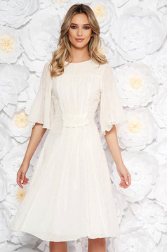 Fehér elegáns harang ruha deréktól bővülő szabás fátyol anyag flitteres díszítéssel