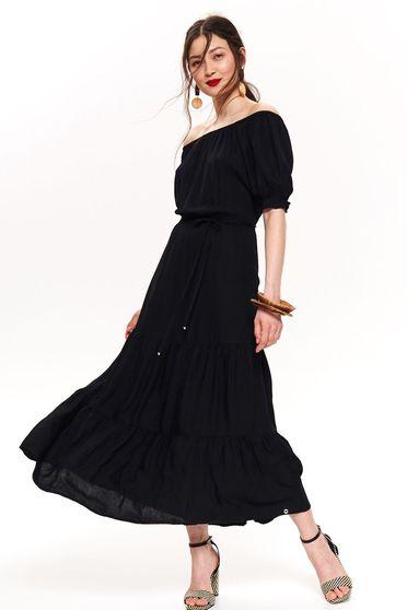 Fekete Top Secret hétköznapi váll nélküli harang ruha lenge anyagból