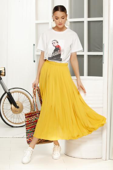 Sárga elegáns rakott harang szoknya fátyol