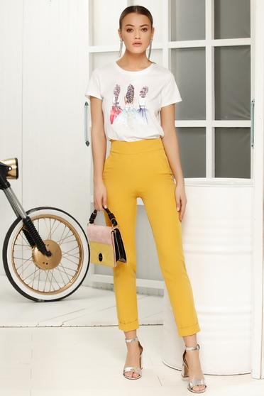 Sárga elegáns nadrág szűk szabás
