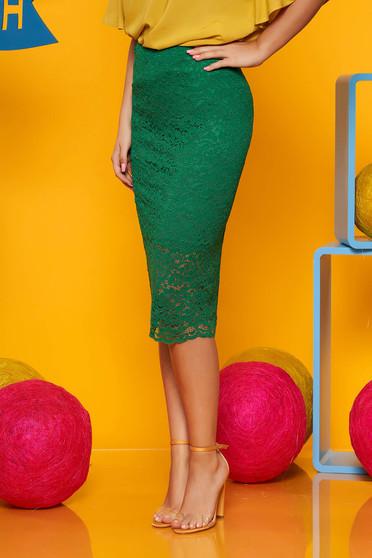 Zöld Top Secret midi szoknya csipkés anyagból szűk szabás