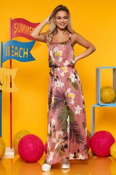 Rózsaszínű Top Secret hétköznapi harang ruha kerekített dekoltázs vékony anyag virágmintás díszítéssel