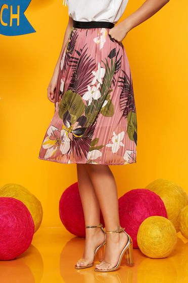 Pink midi virágmintás harang szoknya muszlinból derékban rugalmas