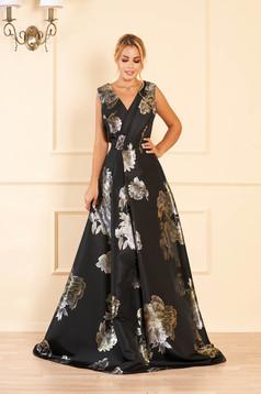Fekete virágmintás alkalmi harang ruha v-dekoltázzsal