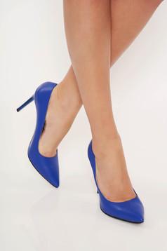 Kék irodai cipő stiletto enyhén hegyes orral