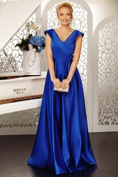 Kék Fofy alkalmi harang ruha v-dekoltázzsal váll nélküli szatén