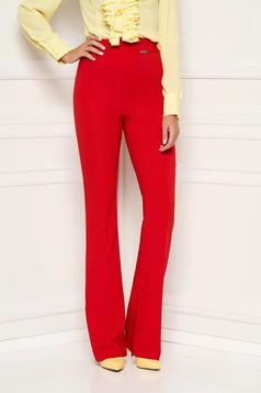 Piros PrettyGirl elegáns bővülő nadrág magas derekú nem rugalmas anyag