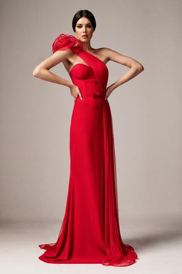 Piros Ana Radu alkalmi hosszú szirén tipusú ruha szivacsos mellrész szűk szabás