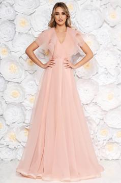 Rózsaszínű Ana Radu alkalmi harang ruha v-dekoltázzsal fodrok a dekoltázs vonalánál
