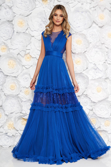 Kék Ana Radu alkalmi harang ruha v-dekoltázzsal csipke díszítéssel övvel ellátva
