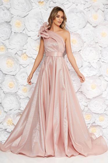Rózsaszínű Ana Radu harang ruha nem rugalmas anyag fémes jelleg belső béléssel fodros