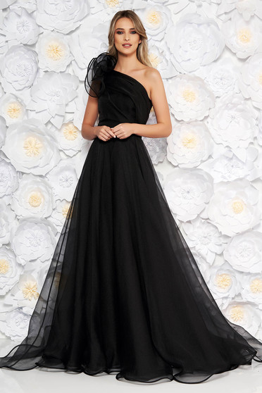 Fekete Ana Radu luxus egy vállas deréktól bővülő szabású ruha béléssel övvel ellátva