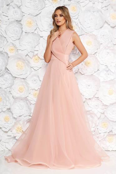 Rózsaszínű Ana Radu alkalmi hosszú harang ruha v-dekoltázzsal ujj nélküli