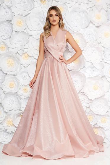 Rózsaszínű Ana Radu alkalmi hosszú harang ruha v-dekoltázzsal