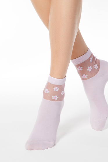 Pink zoknik rugalmas pamut kidomborodó virágokkal