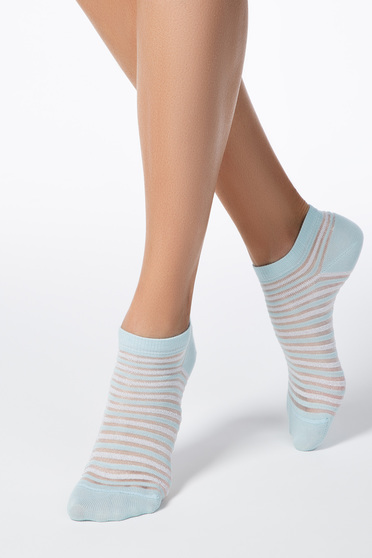 Türkiz zoknik rugalmas pamut lekerekitett sarokkal