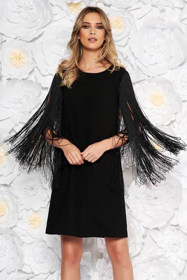Fekete alkalmi bő szabású ruha nem rugalmas anyag rojtos
