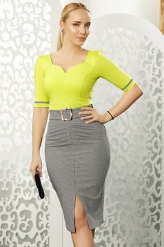 Világos zöld Fofy irodai szűk szabás női ing rugalmas pamut v-dekoltázzsal masnikkal van ellátva