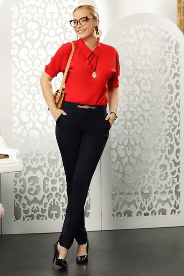 Fofy piros elegáns női blúz bő szabás háromnegyedes ujjú galléros