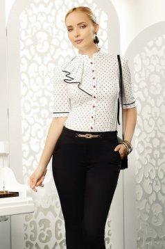 Fofy fehér elegáns női ing rövid ujjakkal karcsusított szabás enyhén elasztikus pamut