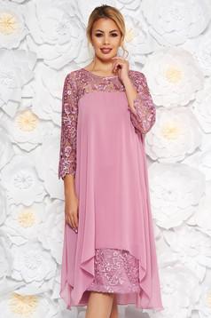 Rózsaszínű alkalmi egyenes ruha enyhén elasztikus szövet csipke ujj muszlinból
