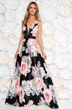Rózsaszínű Artista alkalmi hosszú harang ruha szivacsos mellrész szatén anyagból övvel ellátva
